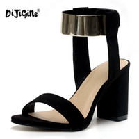 Wholesale High Heels Dropshipping - DIJIGIRLS Hot Fashion Ankle Strap Glitter Bling Square High Heel Sandals Women's shoes Black Drop Ship Factory Dropshipping