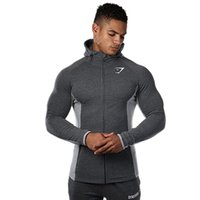 Wholesale Cardigan Men Wear - Gymshark 2018 muscle brothers hot fashion color mixed fitness running jacket men's sports casual wear cardigan zipper hooded sweater