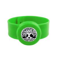 Wholesale kids slap bracelets - Tree 25mm Diffuser locket Kids Mosquito Repellent Bracelet Essential Oil Diffuser Locket Stretchable Silicone Slap Bracelet