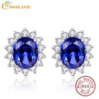 kate diana toptan satış-BONLAVIE 3ct Mavi Tanzanite Küpe Lüks Kate Prenses Diana 925 Gümüş Nişan Düğün Saplama Küpe Brincos D1892601