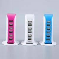 multifunktions-reiseladegerät großhandel-6 USB-Anschlüsse Wandladegerät Multi-Ladeanschluss Hauptreiseadapter EU US Multifunktions-Wandschnellladegerät Netzteil mit Kleinkasten