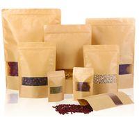 оконные крафт-коричневые мешки оптовых-100шт продуктов питания влагостойкие мешки, мешки окна коричневый крафт-бумага Doypack мешок Ziplock упаковка для закуски, печенье