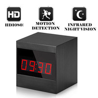 Wholesale alarm clock hidden camera dvr - 1080P Spy Clock Hidden Camera A10 HD Night Vision Alarm Cock Camera DVR With Remote Motionning Clock Voice Vedio Recorder Support TF Card