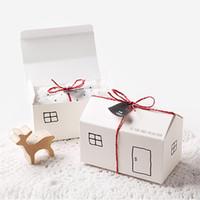 embalagem de cookies para envio venda por atacado-Caixa de papel / caixa da casa projeto para cookies / presente / panificação / chocolate / festa / fesiival embalagem 2 cores para sua escolha 20 pçs / lote frete grátis