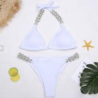 cc7e792b04 Brand New White Strass Maillots De Bain Femmes Maillot De Bain Diamond  Bikini 2018 À La Main Halter Maillot De Bain Femmes Bikini Set