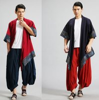 Wholesale Thin Overcoat - Wholesale- Spring Chinese Style cotton linen wind breaker patchwork raincoat mianyiwaitao coat Trench Coat Overcoat 6colors