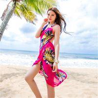 Wholesale long beach towels resale online - Sunscreen Woman Swimwear Silk Scarf Bikini Oversize Beach Towel Portable Camisole Chiffon Printing Fashion Cover Sarong Long Shawl lm bb