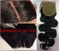 Wholesale Weave Knot - 8A Body Wave Human Hair 4x4 Silk Closure Bleached Knot Free Middle 3 Part Silk Base Closure silk closureTop Lace