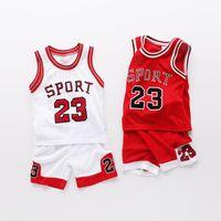 ingrosso tute sportive per bambini-2018 Gilet Real New Menino Bambini Abbigliamento sportivo Set Estate Bambini Basket Tuta sportiva + pantaloncini Baby Outfits 3-10 Ys Jersey Y1892807