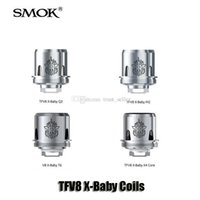 Wholesale Smok Dual Coils - 100% Original SMOK TFV8 X-Baby Coil Q2 0.4ohm M2 0.25ohm X4 T6 Dual Coils Replacement Head For TFV8 X-Baby Tanks Genuine