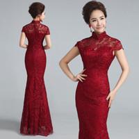manto vintage chinês venda por atacado-Vinho Vermelho Rendas Casamento Cheongsam Moderno Chinês Tradicional Vestido Qipao Vestidos de Noite Longo Qi Pao Formal Vintage Robe Chinoise