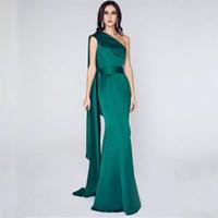 promi prom kleider großhandel-Dunkelgrün eine Schulter Satin Meerjungfrau Abendkleider 2019 Promi langes Abendkleid bodenlangen Partykleider elegant