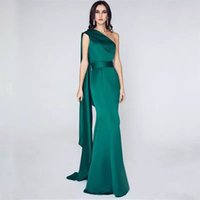 ünlü uzun yeşil elbise toptan satış-Koyu Yeşil Bir Omuz Saten Mermaid Abiye 2019 Ünlü Uzun Balo Elbisesi Kat Uzunluk Parti Elbiseler Zarif