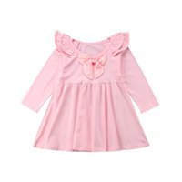 платье для вечеринки оптовых-Popular Solid Sweet Bow Fall Fashion Long Sleeve Cotton Infant Kids Baby Girls Long Sleeve Dress Fashion Princess Party Clothes