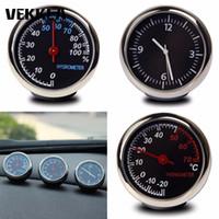 araba termometre saatleri toptan satış-Siyah Dijital Araba Termometre Higrometre mekanik Kuvars Saat Dashboard Pil Ile Süs nem masa Kiti Set Pil