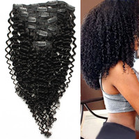 Wholesale thick curly hair extensions - Kinky Curly Hair Machine Made Remy Clip In Human Hair Extensions Thick Natural Color 100g 7pcs Lot