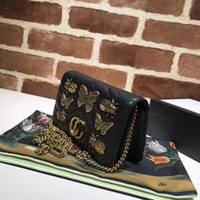 Wholesale Cell Phone Nails - The famous fashion brand new animal willow nail female shoulder bag high quality leather butterfly metal decoration Small purses