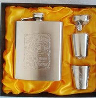 Wholesale Gifts Alcohol - New portable stainless steel hip metal flask sets brand gift travel whiskey alcohol liquor flagon golden Male Mini Bottles