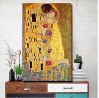 abstrakte gemälde gesichter großhandel-Gustav Klimt Kuss Leinwand Gemälde an der Wand, Replik berühmte Malerei für Wohnzimmer, Figur Poster und Drucke ungerahmt