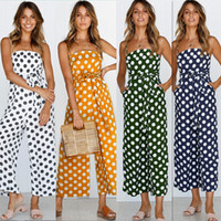 Wholesale cute women jumpsuits - Sexy Women Jumpsuits New Summer Arrival Cute Retro Polka Dot Printed Jumper Sexy Shoulder-straps Ninth Wide-leg Suits