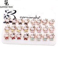 merhaba kristal set toptan satış-Kore Damızlık Küpe Güzel Sevimli Kedi Küpe Kız Çocuklar Emaye Alaşım Kristal Taç Hayvan Hello Kitty Küpe Seti
