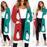 468a6f3f9eec Women Christmas Knitted Cardigan Sweater Leopard Snowman Reindeer Print  Long Sleeve Pocket Long Knitwear Autumn Winter Outerwear NB-499-2