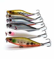 Wholesale 7cm Lures - 6 colors 7cm 2.76in 7.5g 0.26oz Fishing Lure Minnow Hard Bait with 2 Fishing Hooks Fishing Tackle Lure 3D Eyes
