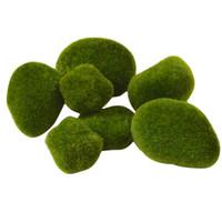 ingrosso pietra verde per la decorazione-8pcs micro paesaggio decorazione fai da te mini fata giardino verde artificiale muschio fuzzy pietre erba pianta Poted Home Garden Decor