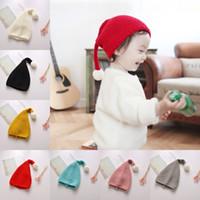 en iyi çocuklar kışlık şapkalar toptan satış-Sonbahar Kış Çocuk Çocuklar Şeker Renk Noel Örgü Şapka Noel Baba Şapka En Iyi Hediye Yün Sıcak Kap