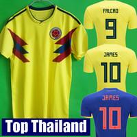 Wholesale Tops Short Men - Top thailand National JAMES 10 COLOMBIA soccer jerseys 2018 World Cup Jersey FALCAO CUADRADO BACCA Football soccer shirt camisetas maillot