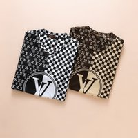 Wholesale two color collar shirt - 2018 new Polos Two-color mosaic Collar Men's Casual Cotton designer t Shirts for poloshirt men slim fit T-Shirt Fashion Top lv02