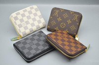 Wholesale european knitting bag - new L bag Free shipping billfold High quality Plaid pattern women wallet men's pures high-end luxury brand designer L wallet with