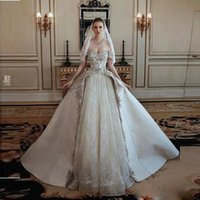 Wholesale white sequin material resale online – 2019 Off The Shoulder Applique Lace Tulle and Satin Material Ball Gown Wedding Dresses A Line Long Bridal Gown Special Design
