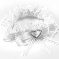 белый кружевной горный хрусталь оптовых-TFGS подвязки белое кружево свадебные аксессуары счастливая невеста лук горный хрусталь сердце эластичная лента #67