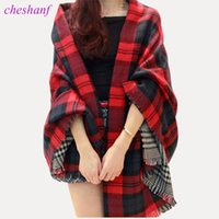 rote karierte schalfrauen großhandel-Frauen Rot Faux Kaschmir Schal 2017 Double Faced Plaid Decke Schal Neue Winter Marke Schal Promi Frauen Herbstmode Cape