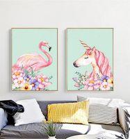 diy hat taşları kiti toptan satış-Elmas Nakış Boyama Karikatür 5D Diy Flamingo Unicorn Yeni Stil Çapraz Dikiş Kiti Taklidi Tam Yuvarlak Mozaik Ev Dekorasyon 33om3 Y