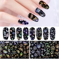 christmas snowflakes nail 3d 2018 - 4Pcs Pack Christmas Snowflakes Nail Foils Holographic Nail Transfer Stickers Decals Wraps 3D Laser Glitter Art Decorations