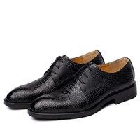 hakiki deri timsah baskısı toptan satış-Erkekler Lüks Düğün Parti Elbise Timsah Tahıl Hakiki Deri Ayakkabı Baskı Dantel Kadar Genç Oxfords Ayakkabı Nefes Zapatos Noktası