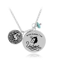 Wholesale wholesale customized jewelry - Cute Unicorn Pendant letter Necklace Round DIY Necklace Birthday Gifts For Women DIY Customized Engrave jewelry drop shipping 380007