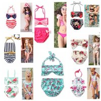 Wholesale Girls Toddler Swimwear - kids girls Swimwear Flower printed Toddler Baby summer beachwear Swimsuit Bikini Tankini Swimwear Beachwear Bikini Set KKA4289