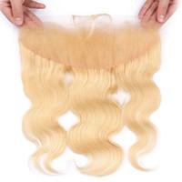 blonde haarfarbe 613 großhandel-13x4 Ohr zu Ohr Spitze Frontal Body Wave 613 # Blonde Farbe Echthaar Verschluss mit dem Babyhaar