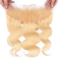 cor de cabelo loiro 613 venda por atacado-13x4 Orelha A Orelha Lace Frontal Onda Do Corpo 613 # Loira Cor Cabelo Humano Encerramento com o Cabelo Do Bebê