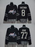 Wholesale Hot Washington - Cheap 2018 New Brand Mens Washington Capitals 8 Ovechkin 77 Oshie 100th Black S-3XL Hockey Jerseys Hot sale