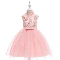 prenses tarzı yaka elbise toptan satış-Yaz yeni retro elbise kız kelebek nakış Çin tarzı prenses elbise pembe standı yaka elbise tül