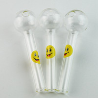 Wholesale pipe hand tools - Smile Logo Pyrex Glass Pipe Oil Burner Glass Spoon Pipe Funny Hand Pipes Glass Smoking Pipes Free Shipping Smoking Tool SW15