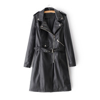 ingrosso trincee rosa femminile-Kobykoyi Donne Autunno Trench Coat Street Fashion Cuoio Donne Trench Coat Top Per Pink Pu Chaqueta Mujer