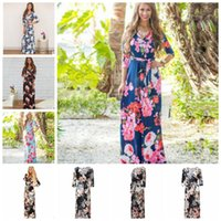Wholesale women elegant night dresses - 3 4 Sleeve Long Dress Floral Printed Fashion Women Casual Long Dress Loose Boho Beach Maxi Elegant Floral Dress KKA4799