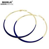 indische mode ohrring reifen großhandel-oop Ohrringe MANILAI Fashion Jewelry 75mm Durchmesser Öl-Spot Big-Band-Ohrringe 4 Neonfarben indischen Modeschmuck pendientes de Glasur ...
