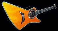 guitarra acústica de abulón al por mayor-Rare Matthias Jabs EX 90/2000 Explorer Guitar Guitarra eléctrica acústica Tapa de espuma sólida, Encuadernación de cuerpo de abulón, Estrellas Planetas Sound Hole Binding