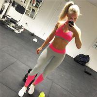 black female yoga pants al por mayor-Mujeres Deportes Leggings de Yoga Elástico Apretado Gimnasio Mujer Activa Pantalones Ropa Mujer Rosa Negro Pantalones de Color Sólido FS5759
